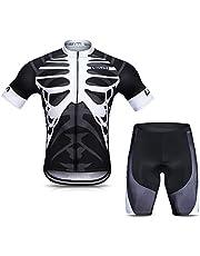 Lixada Herren Radtrikot Set, Atmungsaktiv Quick-Dry Kurzarm Radsport-Shirt + Gel Gepolsterte Shorts, (Schwarz&Weiß, XL)