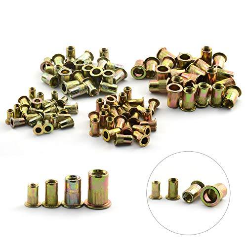 Body Carbon Steel (ZYAMY 100PCS Rivet Nut Kit Flat Head Knurled Body Threaded Carbon Steel Insert Nut Assorted M4 M5 M6 M8 Metric Rivet Nuts Tool)