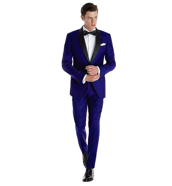 Amazon.com: Traje formal azul para hombre de alta gama ...