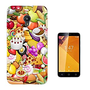 003217 - Fast food emoji Design Vodafone Smart Turbo 7 Fashion Trend CASE Gel Rubber Silicone All Edges Protection Case Cover