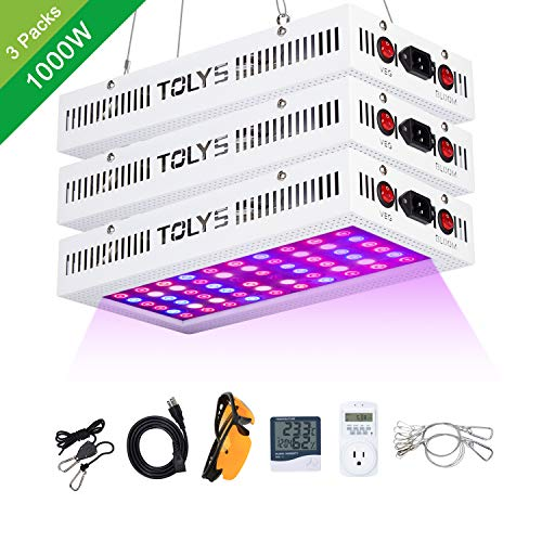 TOLYS 3-Packs 1000W Grow Light, 2019 LED Plant Lights Double Chips Full Spectrum Grow Lamping for Indoor Plants Veg and Flower, with Humidity Monitor Timer and Glasses White