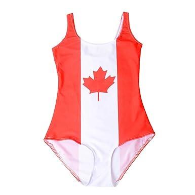 52aed3e7e60 Kerio Sexy Women World Flags Canada Print Bikini Set Digital Bodysuit Beach  Swimwear Fitness Wetsuit
