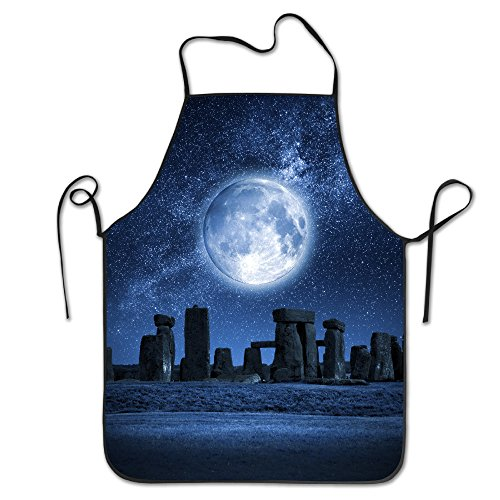 Full Moon Stonehenge Adjustable Apron For Kitchen BBQ Barbecue Cooking Women's Men's Great Gift For Wife Ladies Men Boyfriend