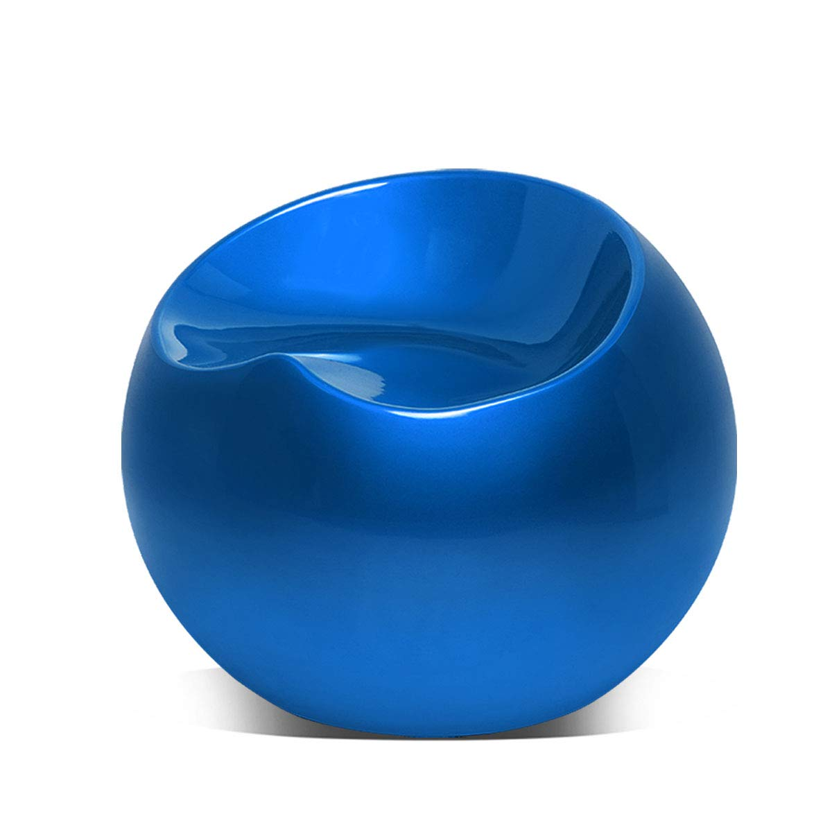 Magshion Modern Living Room Patio Night Club Bar Cocktail Guest Backless Ball Round Lounge Fiberglass Stool Pouf Chairs, Blue