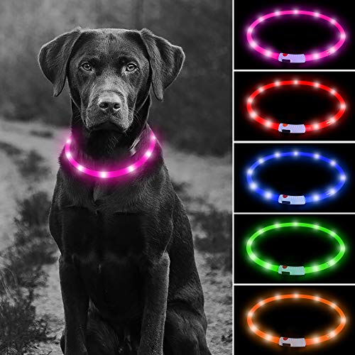 Higo LED Dog Collar, USB Rechargeable Glowing Pet Collars, Silicone Cuttable Light Up Dog Collar for Small Medium Large Dogs(Pink)