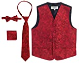 Gioberti Boy's 4 Piece Formal Paisley Vest Set, Red, Size 8