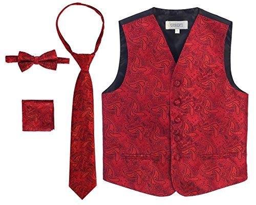 - Gioberti Boy's 4 Piece Formal Paisley Vest Set, Red, Size 14
