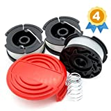 Garden Ninja Replacement Trimmer Spool Compatible with Black+Decker AF-100, 3-Spool with 1 Cap