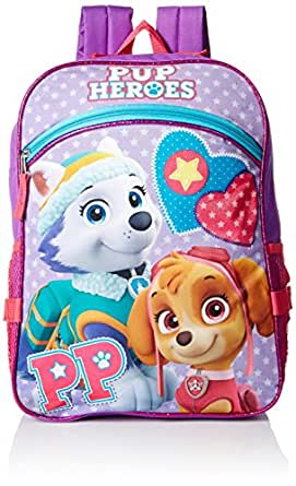 Paw Patrol Girls' Skye and Everest Purple 16 Inch Backpack with Detachable Lunch Bag, Multi, One Size