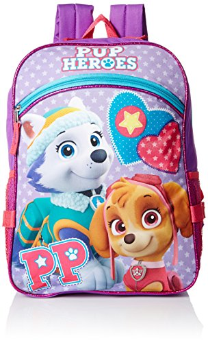 Skye Bag (Paw Patrol Girls' Skye and Everest Purple 16 Inch Backpack with Detachable Lunch Bag, Multi, One Size)