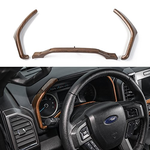 Voodonala Wood Grain Dashboard Trim for 2015 2016 2017 2018 Ford F150 F250 F350 Super Duty -