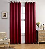 Burgundy Curtains MYSKY HOME Solid Grommet top Thermal Insulated Window Blackout Curtains for Living Room, 52 by 84 inch, Burgundy (1 panel)