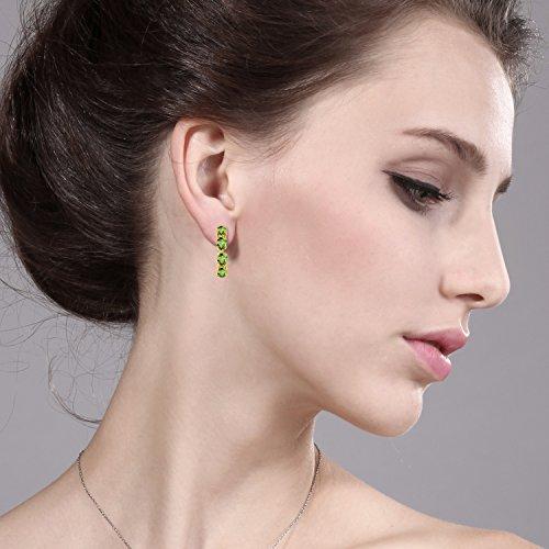 Gem Stone King 4.00 Ct Oval Green Peridot 18K Yellow Gold Plated Silver Hoop Earrings