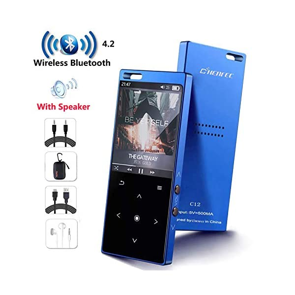 MP3 Player with Bluetooth4.2, 16GB Portable MP3 Player with Speaker Touch Button/1.8TFT Screen Metal Body HiFi Music Player with FM Radio, Voice Recorder, Supports up to 128GB SD Card 3