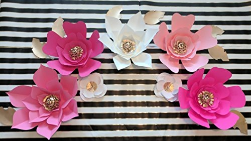 Paper Flowers Hot Pink Tones Backdrops - Includes 7 Paper Fl