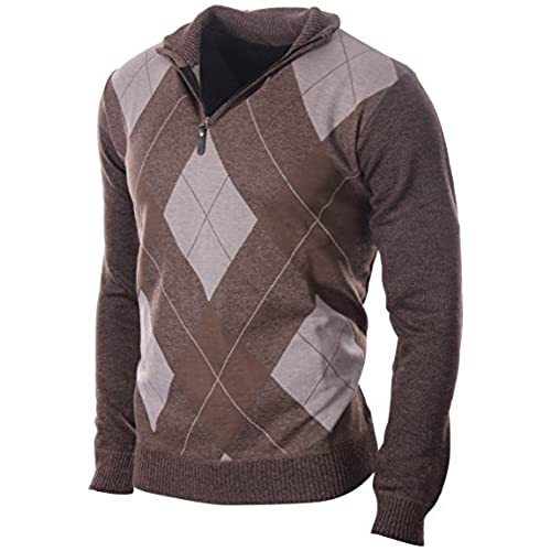 Enimay Men's Fashion Business Casual Long Sleeve Half Zip Argyle Pull Over  Classic Brown Argyle Large