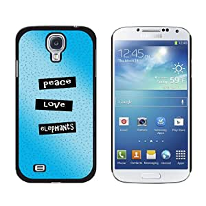 Graphics and More Peace Love Elephants Snap-On Hard Protective Case for Samsung Galaxy S4 - Non-Retail Packaging - Black