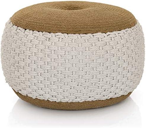 Lincove Woven Cotton Pouf Boho Pouf Seat, Floor Stuffed Ottoman – Handmade Hand-Woven Round Pouf White, Woven Pouf
