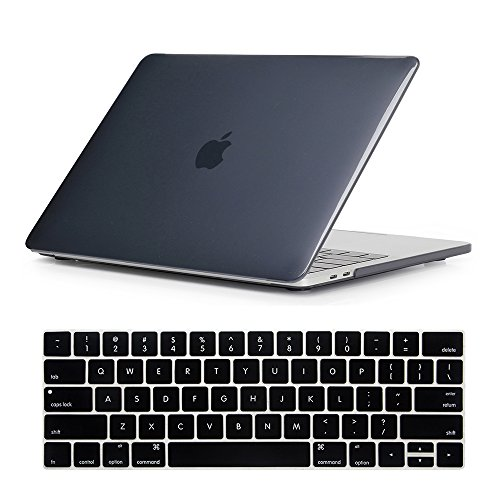 New Crystal Plastic Cover Case (Se7enline MacBook Pro 2016/2017 Case Smooth Soft-Touch Crystal Plastic Hard Cover for MacBook Pro 13 inch A1706/A1708 with/without Touch Bar Touch ID with Keyboard Cover, Black)