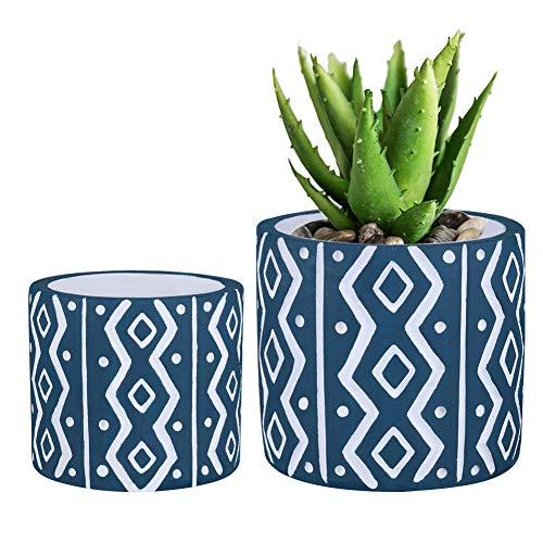 (Modern Geometric Round Cement Succulent Planters Cactus Herb Planter Pots Container Bonsai Planters Set of 2 - Blue)