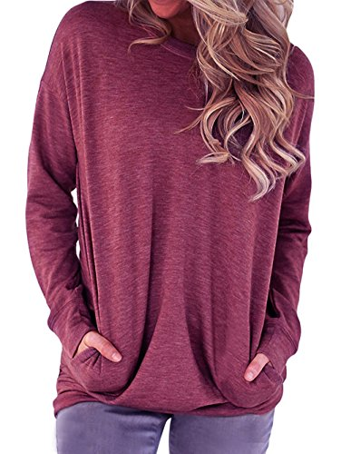 RJXDLT Women's Crew Neck Pullover Sweatshirts Casual Loose Tunic Tops Long Sleeve Shirts Blouses for Women Fuchsia - Cotton Long Sweatshirt Sleeve