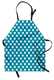 Ambesonne Teal Apron, Retro Style Pattern with Polka Dots Soft High Seas Colored Pale Blue Spots Blots, Unisex Kitchen Bib Apron with Adjustable Neck for Cooking Baking Gardening, Teal Pale Blue