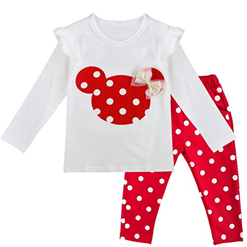 inlzdz Infant Baby Girls Mimi Mouse Costume Long Sleeve Tank Top with Polka Dot Pants Casual Wear Pajama Set Red 3T ()