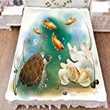iPrint Bed Skirt Dust Ruffle Bed Wrap 3D Print,Illustration Aquarium Tropical Animals Goldfishes,Fashion Personality Customization adds Color to Your Bedroom. by 59''x78.7''