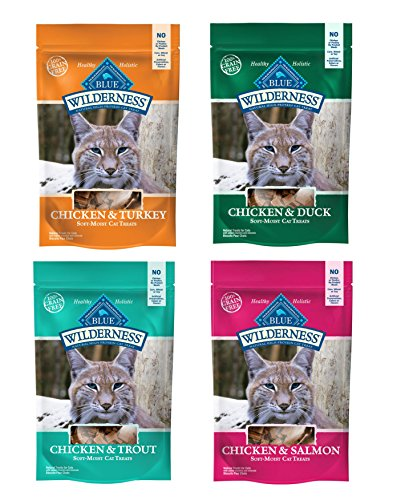 Blue Buffalo Wilderness Soft-Moist Grain-Free Cat Treats Variety Pack - 4 Flavors (Chicken & Duck, Chicken & Trout, Chicken & Salmon, and Chicken & Turkey) - 2 Oz Each (4 Total Pouches) (Blue Cat Treats)