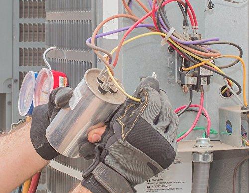 Capacitor for HVAC 45 + 5 mfd UF. Capacitor Run 370 volts. For Air conditioning replacement. Motor Round Capacitor in Aluminum. 45+5 Micro Farad. condenser or heat pump. Dual (45 + 5 mfd, 1 Capacitor)