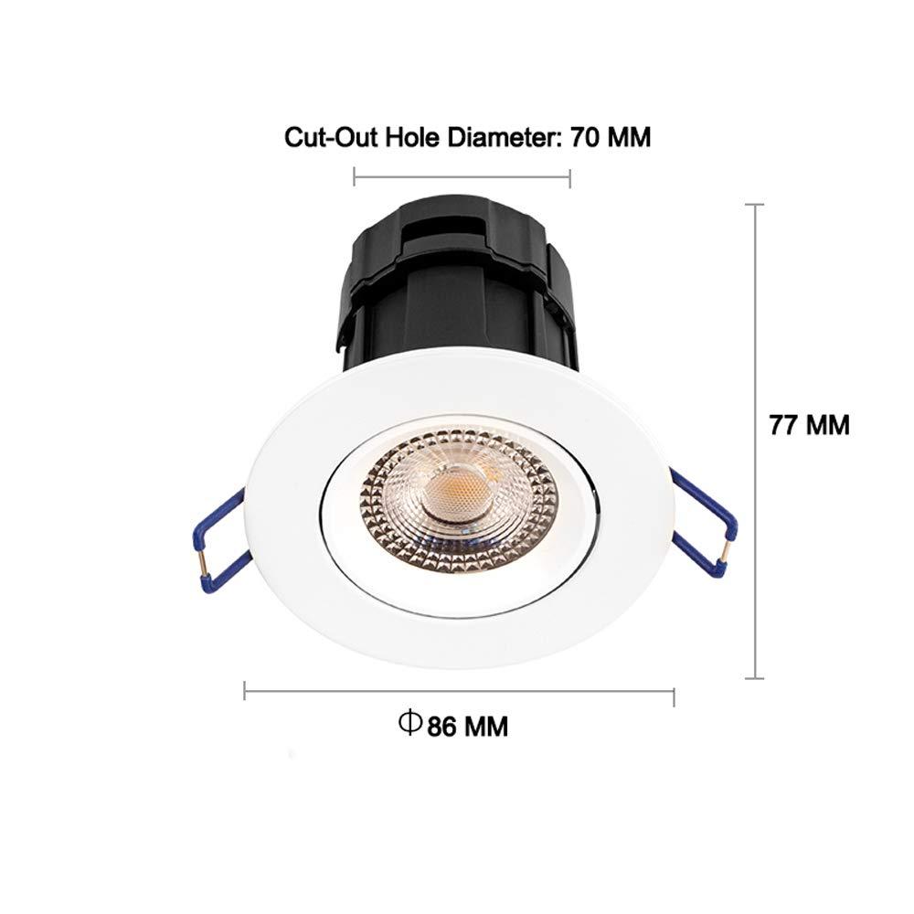 HviLit Commercial Waterproof Angle Adjustable LED Ceiling Spotlight Recessed Rainproof Aluminum Metal Household COB Spot Lamp Flush Mounted Rotatable Ceiling Panel Light for Bathroom