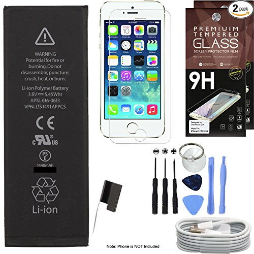 Cell Phone DIY Replacement Battery Kit for Apple iPhone 5 - Complete Repair - Includes Tools - [Set of 2] Glass Screen Protectors Pack - 1M/3' USB Cable - 0 Cycle 1440mAh Batteries Pack