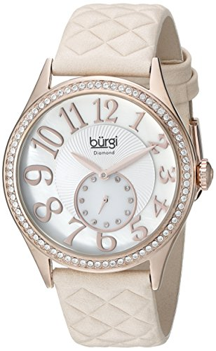 Burgi Women's BUR141NU Silver-Tone Watch with Quilted-Leather Band