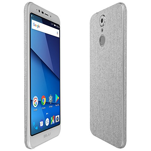 Blu Studio View Xl Screen Protector + Brushed Aluminum Full Body, Skinomi TechSkin Brushed Aluminum Skin for Blu Studio View Xl with Anti-Bubble Clear Film Screen