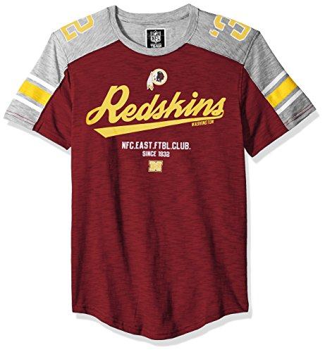 Redskins T-shirts - Icer Brands NFL Washington Redskins Men's T-Shirt Varsity Stripe Short Sleeve Tee Shirt, X-Large, Maroon