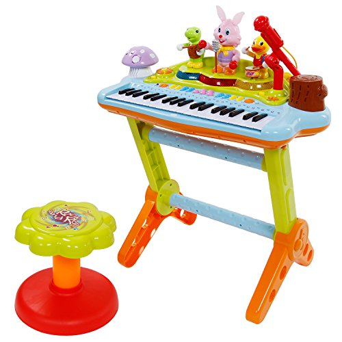 SGILE Cartoon Musical Piano Keyboard Toy with Multiple Learning Modes / Adjustable Volume Tempo Microphone / Lights / Music Songs, Learn To Play 37 Keys Keyboard  Piano Toy for Child Kids Toddlers