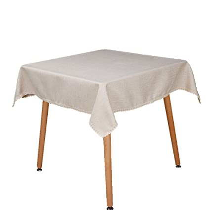 Vu100 Cotone Lino Tovaglia Per Tavolo Quadrato Con Bordo In Pizzo