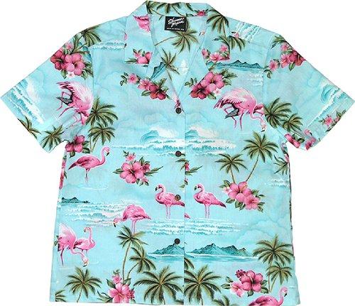 RJC Womens Pink Flamingo Hibiscus Camp Shirt in Blue - 2X - Hibiscus Camp Shirt