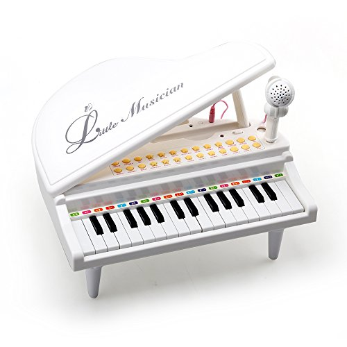 Amy & Benton Piano Keyboard Toy Kids 31 Keys White Multifunctional Toy Piano Microphone Toddlers by Amy & Benton