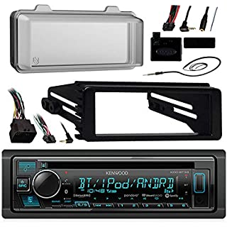 Sale Off Kenwood Bluetooth Radio USB AUX CD Player Receiver w/ Cover - Bundle with Install Dash Kit Handle Bar Control Enrock Antenna for 98- 2013 Harley Touring FLHT FLHX FLHTC Motorcycle Bike