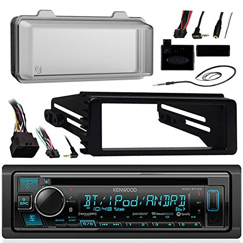 Kenwood Bluetooth Radio USB AUX CD Player Receiver w/ Cover - Bundle with Install Dash Kit, Handle Bar Control, Enrock Antenna for 98- 2013 Harley Touring FLHT FLHX FLHTC Motorcycle - Cd Receiver Package