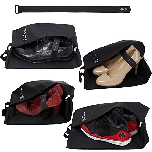 Men & Women - Set of 4 Waterproof Nylon Pouches with Zipper + Fastening Strap Accessory (Mixed, Black) ()