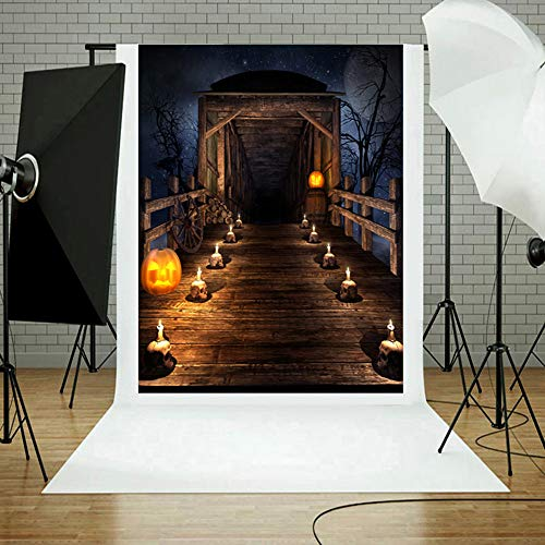 MOKO-PP Halloween Backdrops Pumpkin Vinyl 3x5FT Lantern Background Photography Studio J(J) -