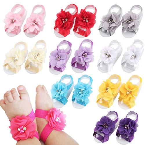 Elesa Miracle Toddler Baby Girls Barefoot Sandals Value Set (10 Pairs - Chiffon Rhinestone Flower)