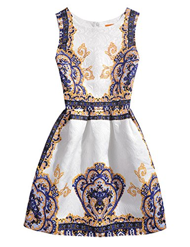 Price comparison product image 21KIDS Summer Sleeveless Creative Art Colorful Print Girls Floral Swing Casual Dress (Color 1,12T)