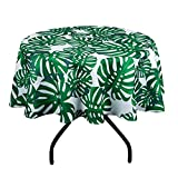 VIMOO Palm Leaf Pattern Tablecloth Spillproof Water Resistant Polyester Washable Table Cover Spring Summer Wedding Birthday Party Home Picnic Use (Palm Leaf, Round-60 inch)