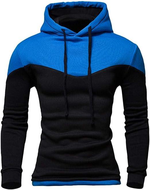 Mens Autumn Patchwork Hooded Sweatshirt Long Sleeve Hoodie Tops Tee Outwear Blouse Beautyfine
