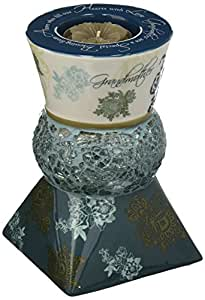 Up Words by Pavilion Teal Tea Light Candle Holder, Home Sentiment, 5-1/2-Inch Tall, Includes Tea Light Candle