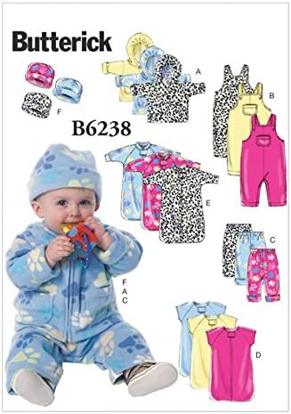 Shirt Size LRG L-XL Butterick Patterns B5583 Infants Bunting Mittens and Booties Hat Blanket Diaper Cover Bib Jumpsuit