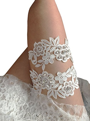 Thick Lace Legs Garter Set With Rhinestones Wedding Garter